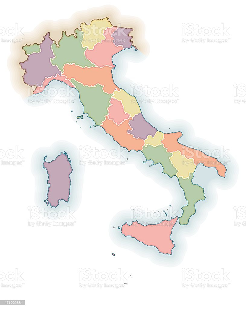 Karte Italien Regionen.Karte Von Italien Regionen Stock Vektor Art Und Mehr Bilder Von 2015