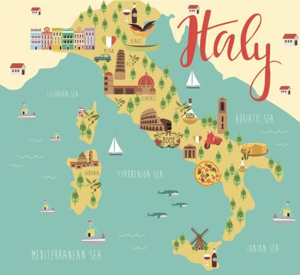 illustrazioni stock, clip art, cartoni animati e icone di tendenza di map of italy - cartina italia