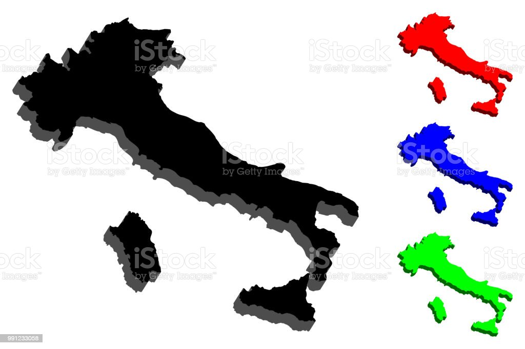 3D map of Italy vector art illustration