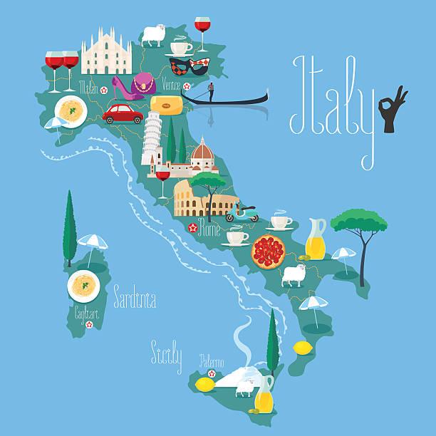illustrazioni stock, clip art, cartoni animati e icone di tendenza di mappa di italia illustrazione vettoriale, design. icone - sardegna