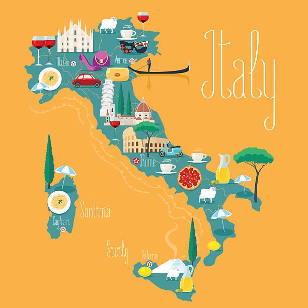 illustrazioni stock, clip art, cartoni animati e icone di tendenza di mappa di italia illustrazione vettoriale, design. icone di simboli italiani - sardegna