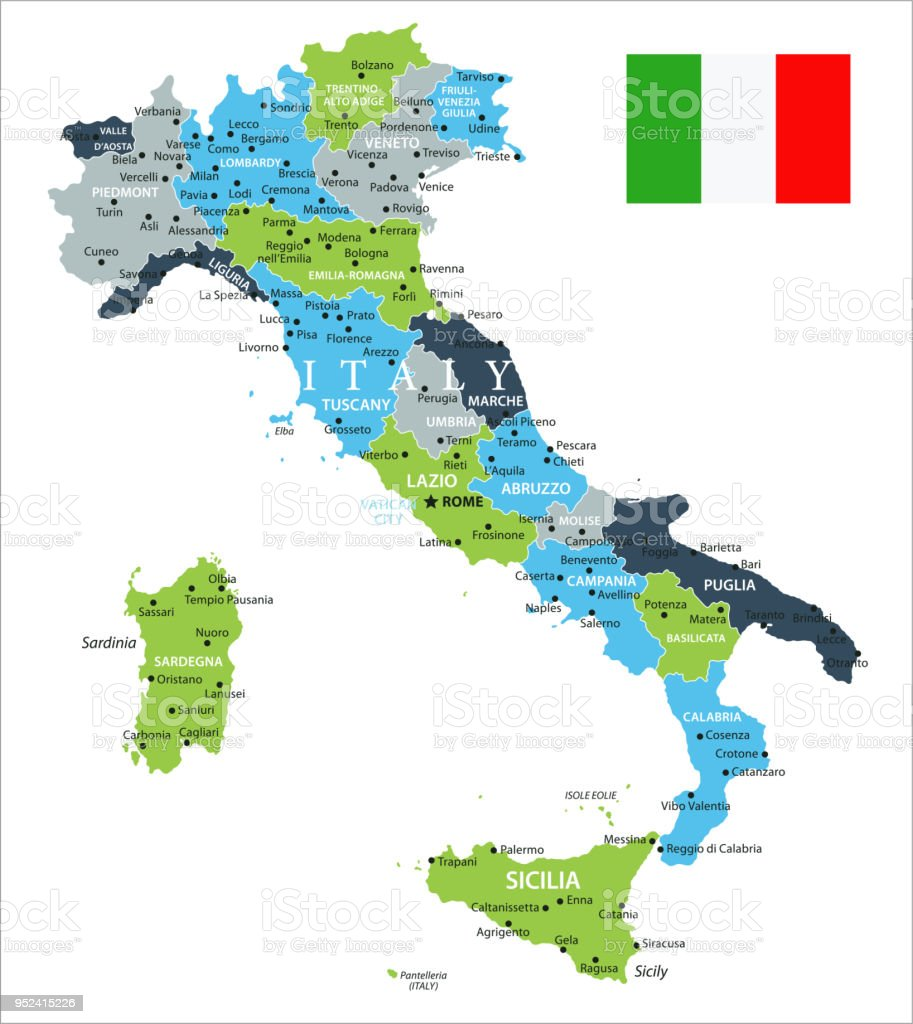 Map of Italy - Vector vector art illustration