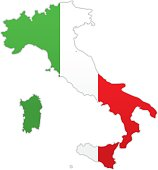Vector illustration of Italy map with flag.