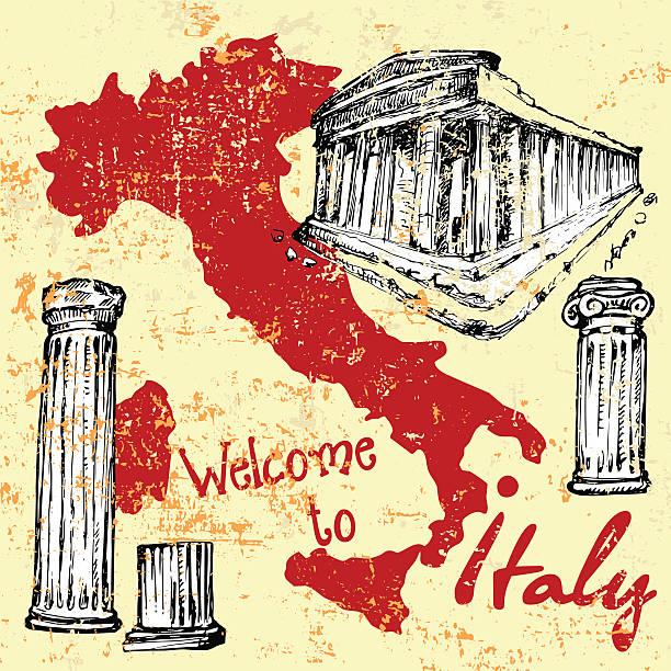 karte von italien mit sehenswürdigkeiten - pompeii stock-grafiken, -clipart, -cartoons und -symbole