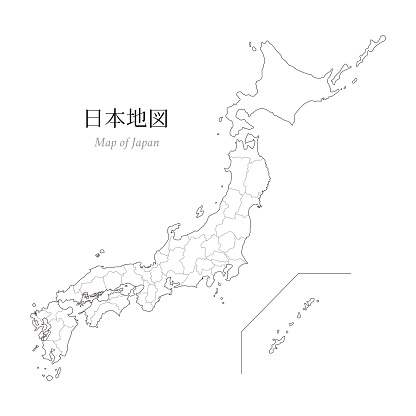 Map of Japan, a blank map, an outline map