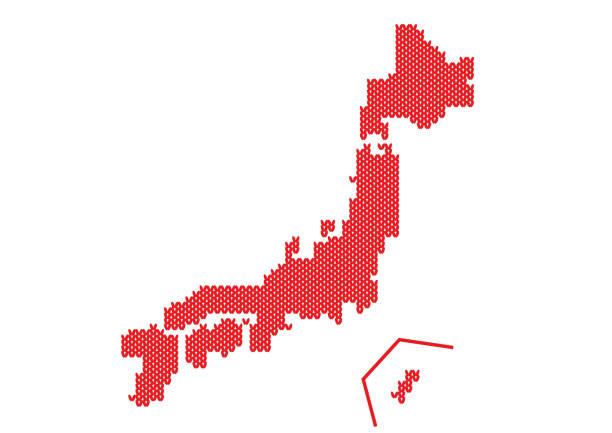 毛糸の編み目で表現した日本地図 ベクターアートイラスト