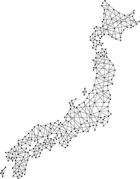多角形を黒線とベクトル図のドットから日本の地図 - 日本 地図点のイラスト素材/クリップアート素材/マンガ素材/アイコン素材
