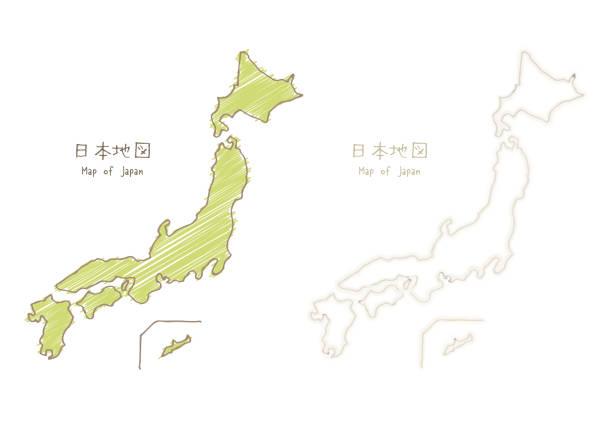 手描きスケッチ空白地図日本地図 - 日本 地図点のイラスト素材/クリップアート素材/マンガ素材/アイコン素材