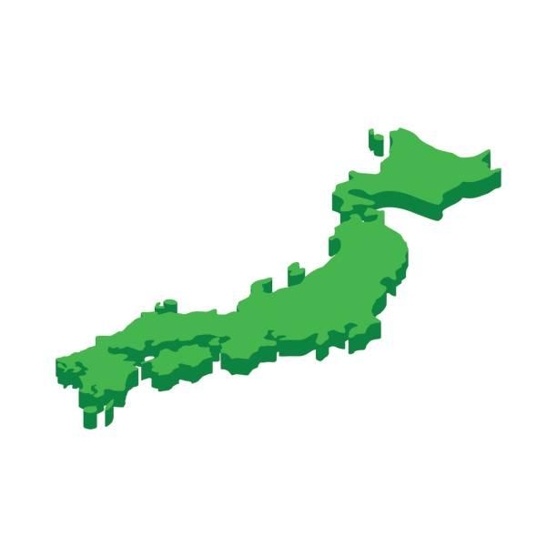 日本のアイコン、3 d アイソメ図スタイルの地図 - 日本 地図点のイラスト素材/クリップアート素材/マンガ素材/アイコン素材