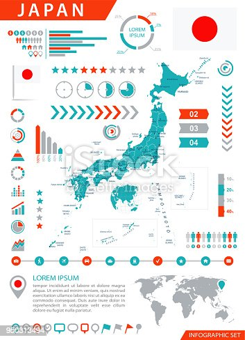 Map of Japan - Infographic Vector illustration