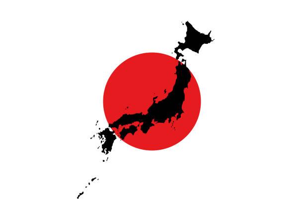 日本地圖在旗子背景上 - hiroshima 幅插畫檔、美工圖案、卡通及圖標