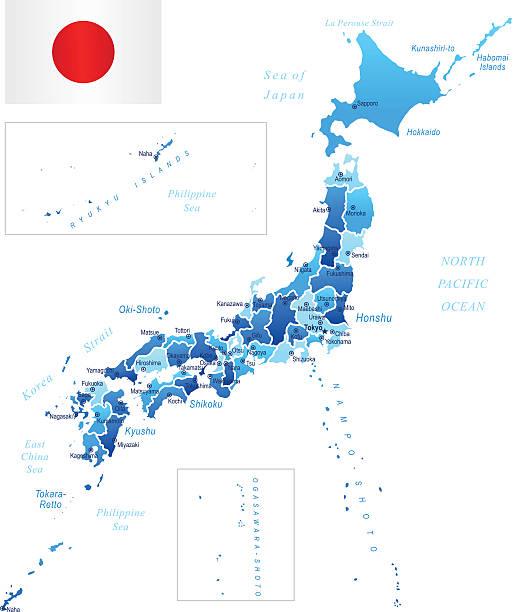 map of japan - hiroshima stock illustrations