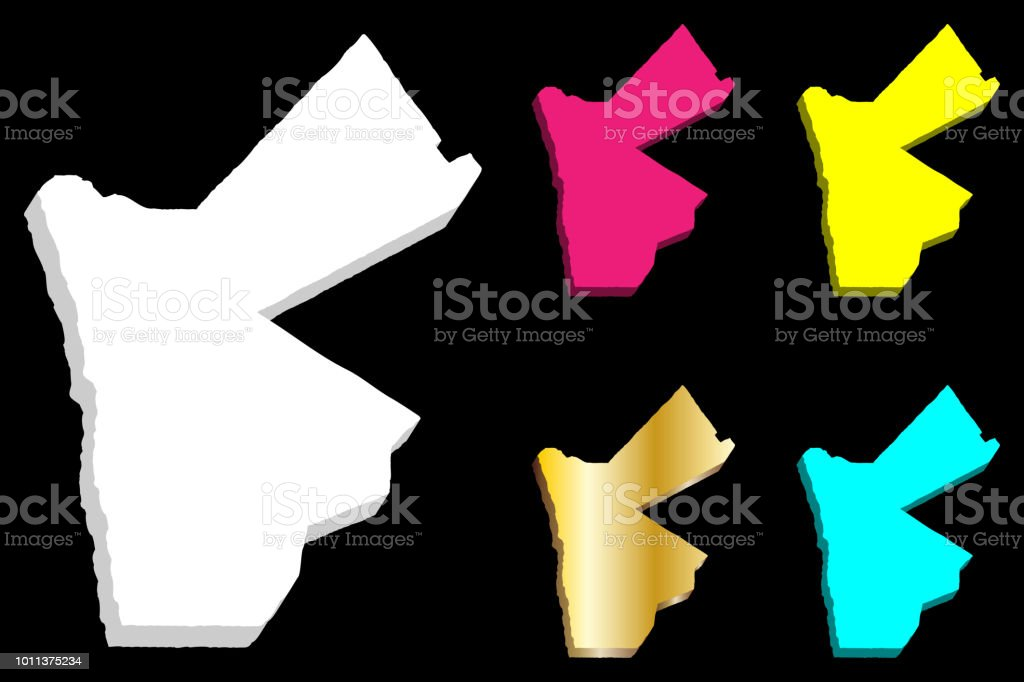 3d Map Of Jordan Stock Vector Art More Images Of Abstract