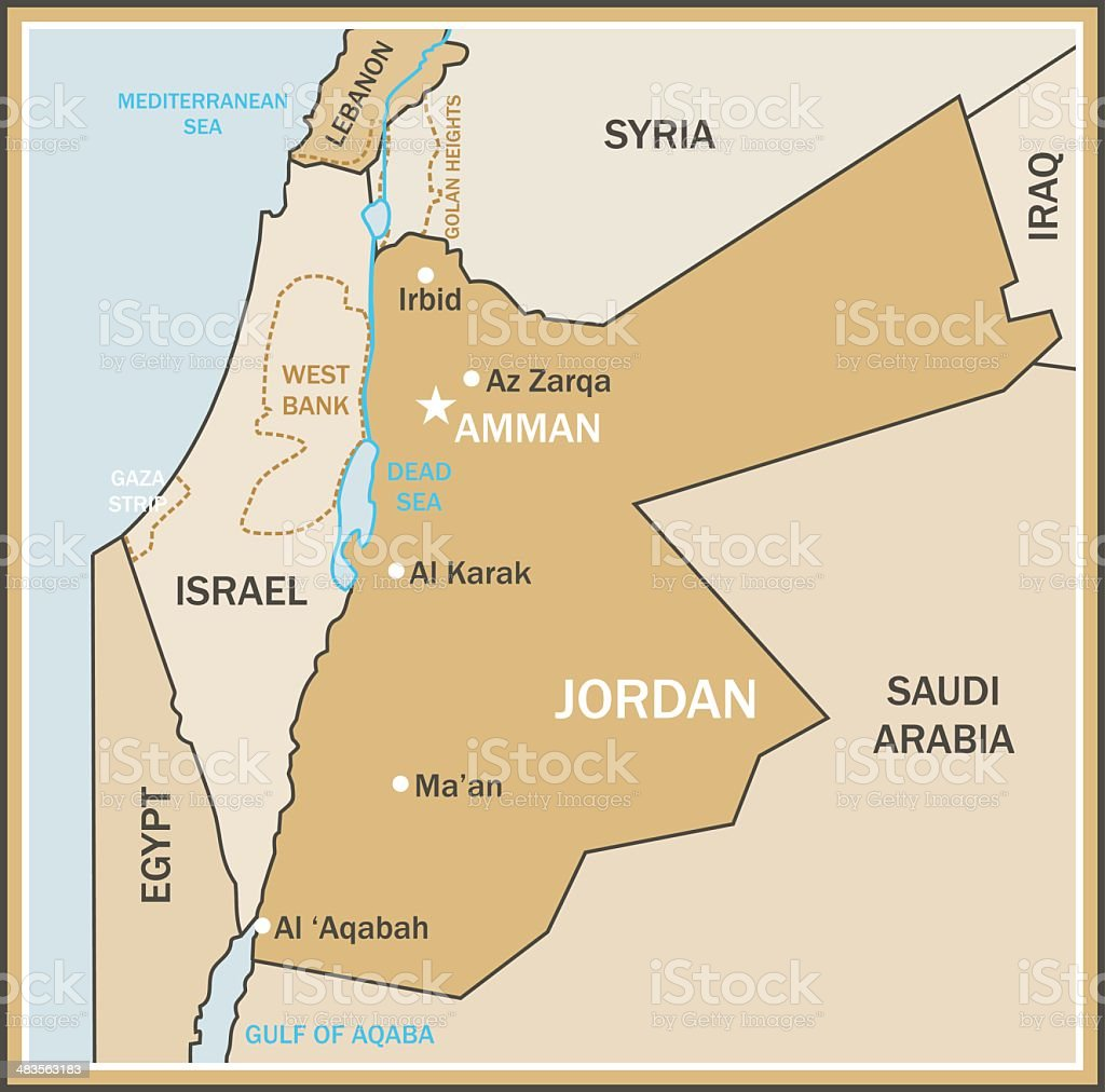 Map of Jordan vector art illustration