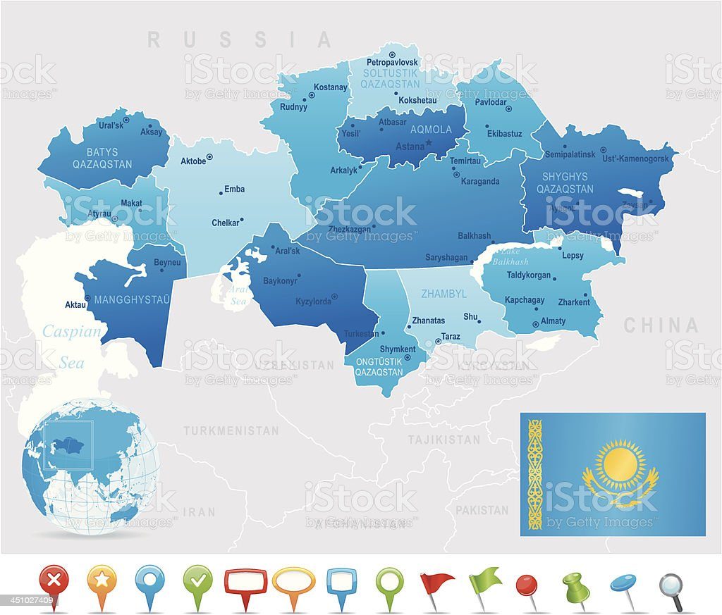 Map of Kazakhstan - states, cities, flag and icons royalty-free stock vector art