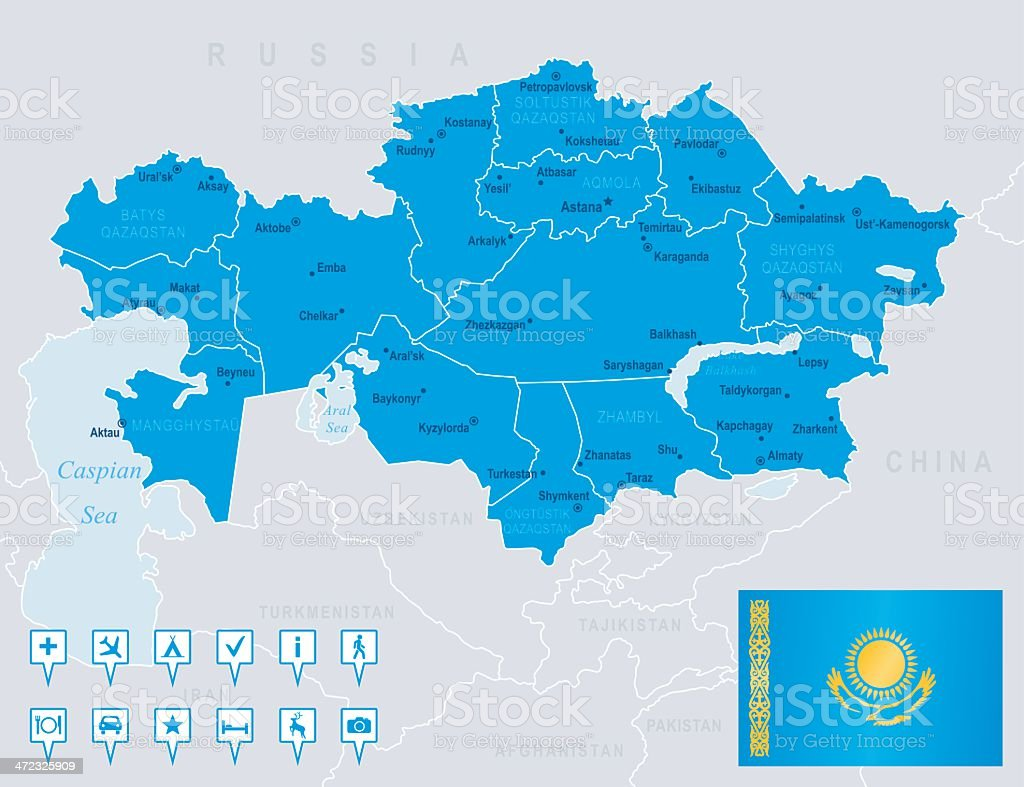 Map of Kazakhstan - states, cities, flag, navigation icons royalty-free stock vector art