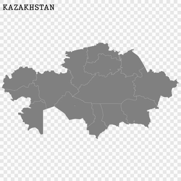 karte von kasachstan - kasachstan stock-grafiken, -clipart, -cartoons und -symbole