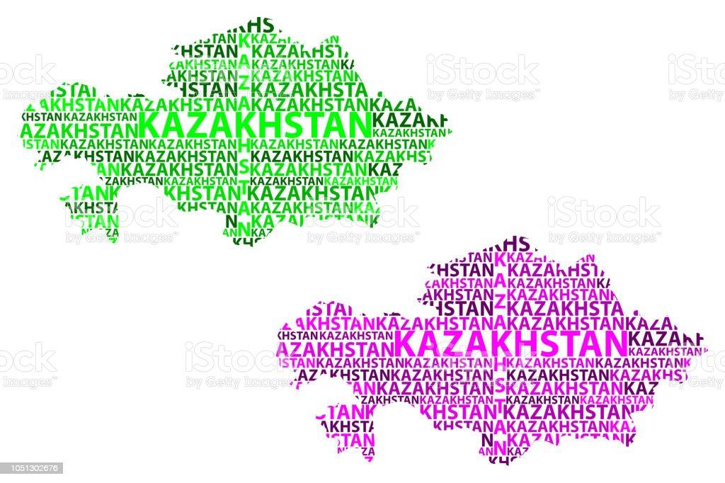 Map of Kazakhstan - vector illustration vector art illustration