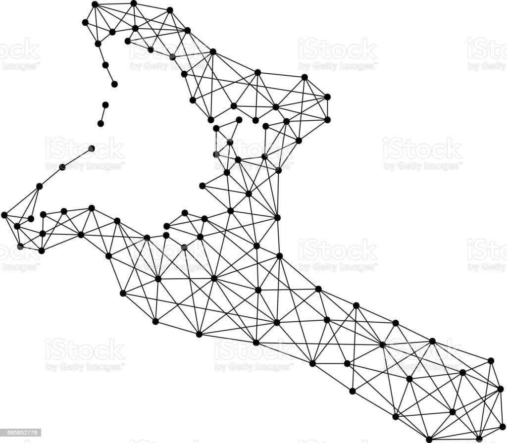 Map of Kiribati from polygonal black lines and dots of vector illustration vector art illustration