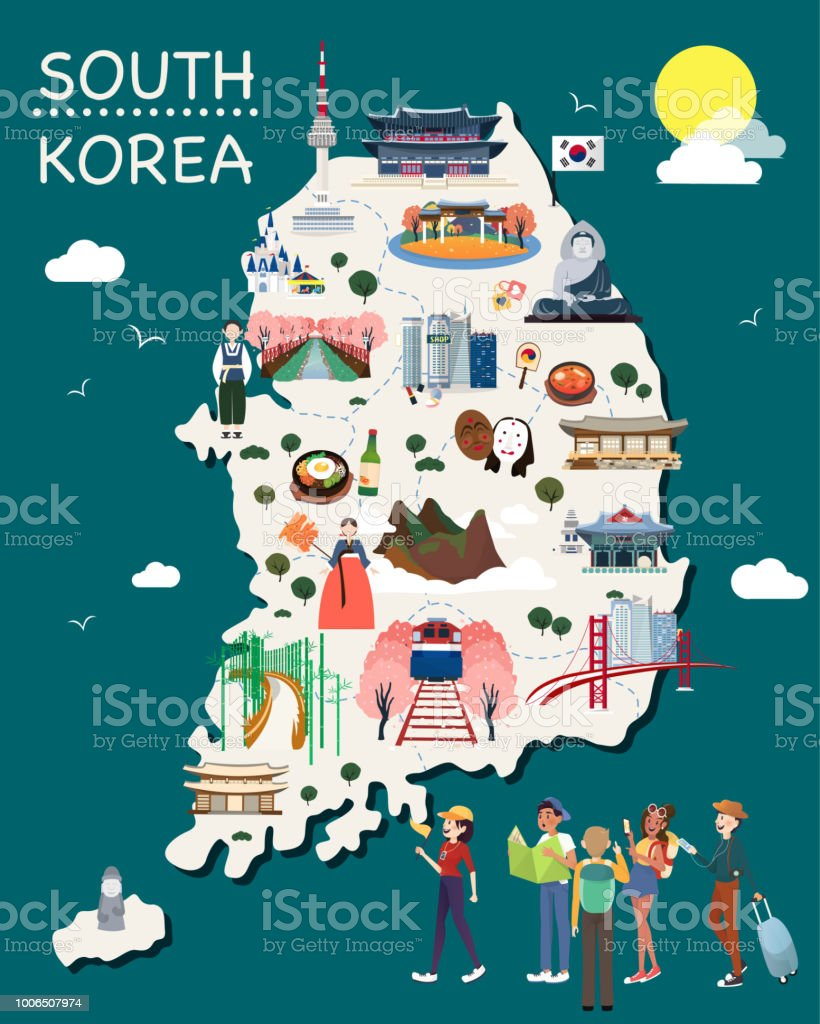 Map Of Korea Attractions Vector And Illustration. vector art illustration