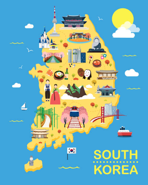 stockillustraties, clipart, cartoons en iconen met kaart van korea attracties vector en illustratie. - zuid korea