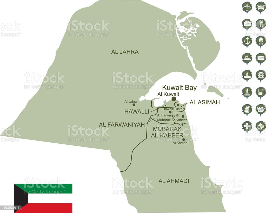 Royalty Free Detailed Vector Map Of Kuwait Clip Art Vector Images