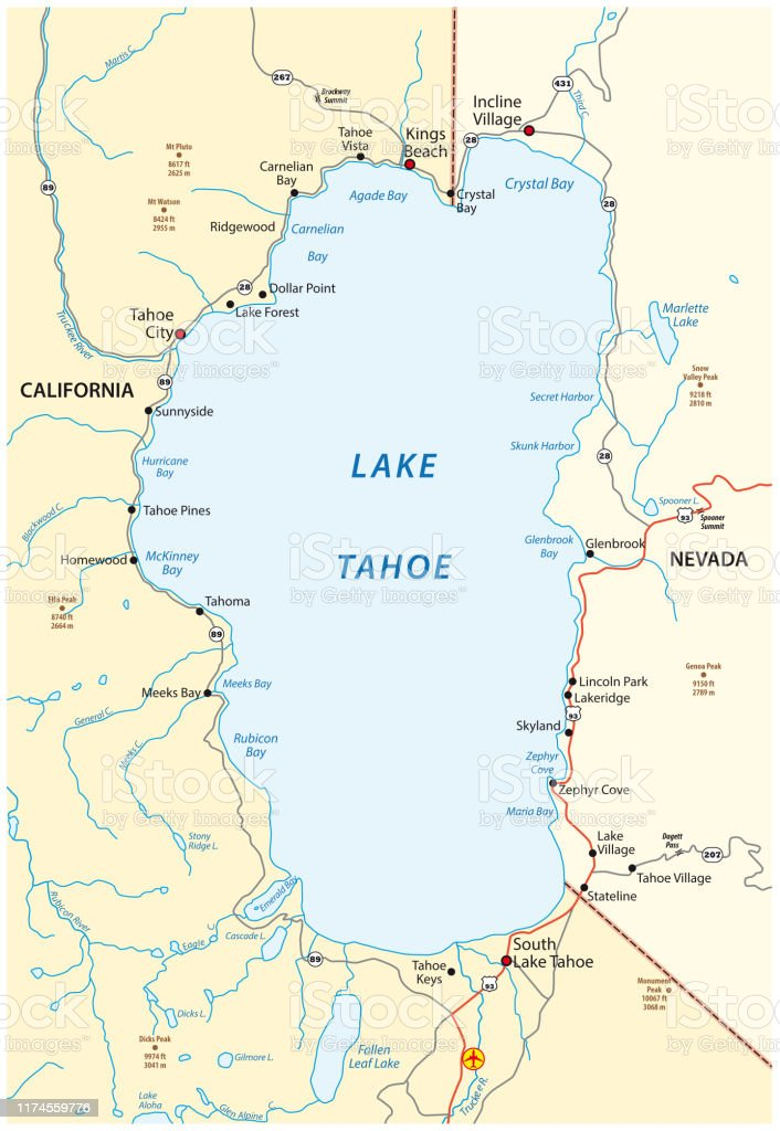 Map Of Lake Tahoe Located Between The Us States Of ...