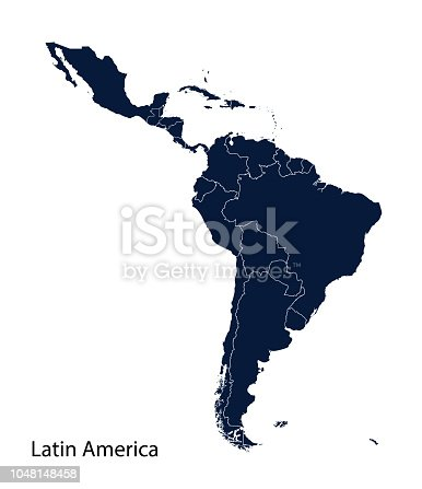 Latin America map, North America, Caribbean, Central America, South America.