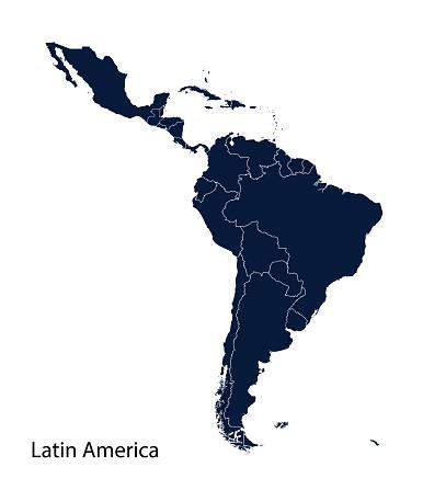 Latin America map, North America, Caribbean, Central America, South America.
