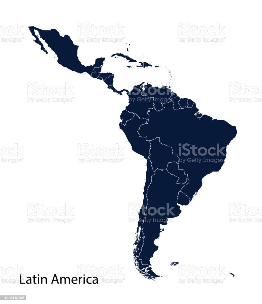 Carte de l'Amérique latine. - Illustration vectorielle