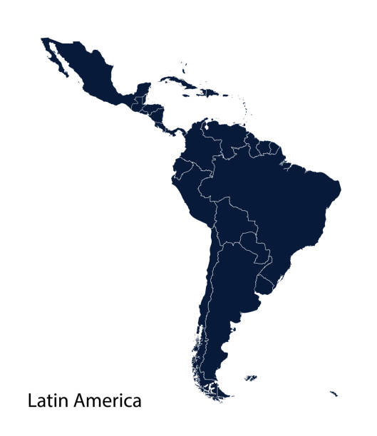map of latin america. - south america maps stock illustrations