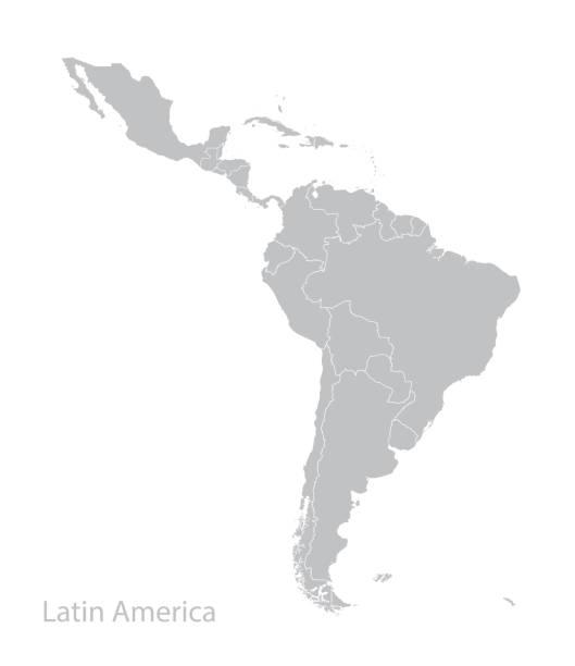 ilustraciones, imágenes clip art, dibujos animados e iconos de stock de mapa de américa latina. - hispanoamérica