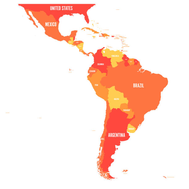 Map of Latin America. Vector illustration in shades of orange Map of Latin America. Vector illustration in shades of orange. latin america stock illustrations