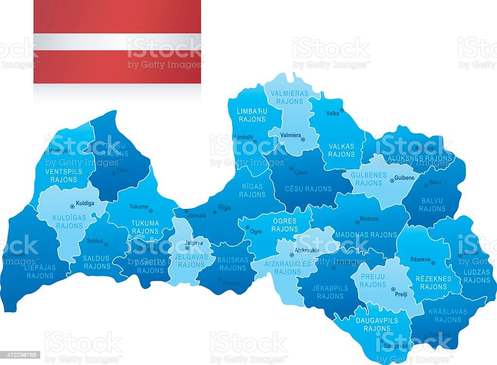 Map Of Latvia States Cities And Flag Stock Vector Art More Images
