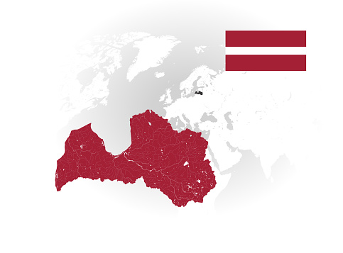 Map of Latvia with lakes and rivers and national flag of Latvia.