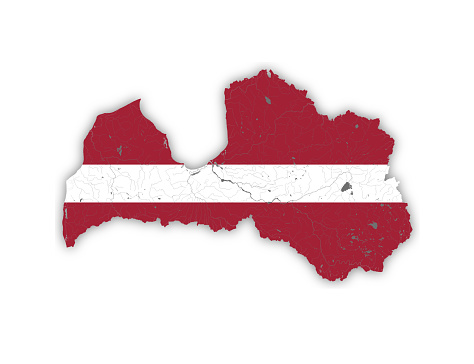 Map of Latvia with rivers and lakes in colors of the Latvian national flag.