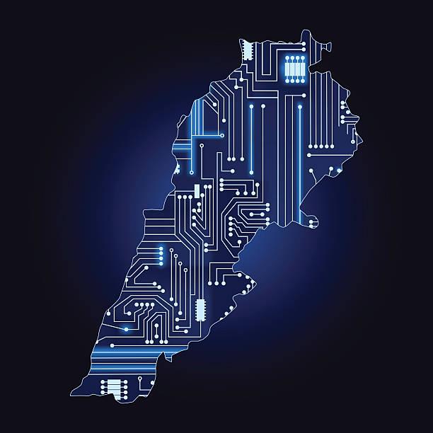 karte des libanon mit elektronischen circuit - beirut stock-grafiken, -clipart, -cartoons und -symbole