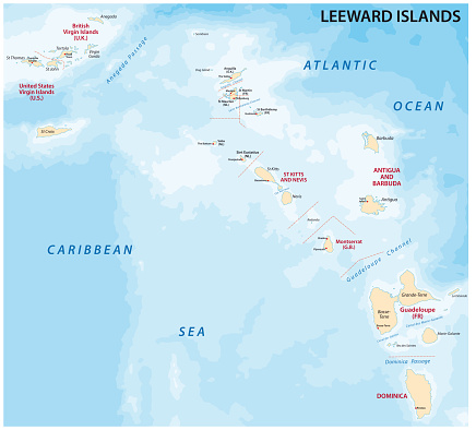 Map of leeward islands, Caribbean island group