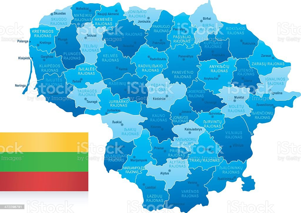 Map of Lithuania - states, cities and flag royalty-free stock vector art