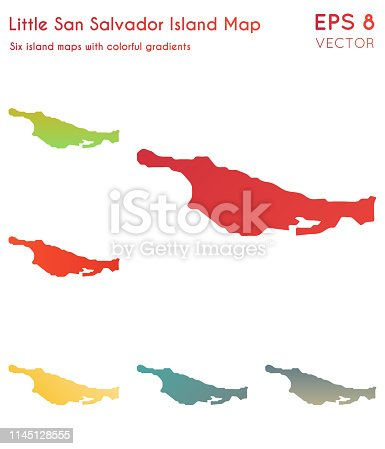 Map of Little San Salvador Island with beautiful gradients. Astonishing set of Little San Salvador Island maps. Interesting vector illustration.