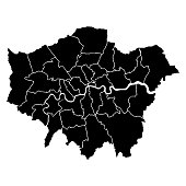 Detailed accurate map of London in high resolution. Vector illustration.