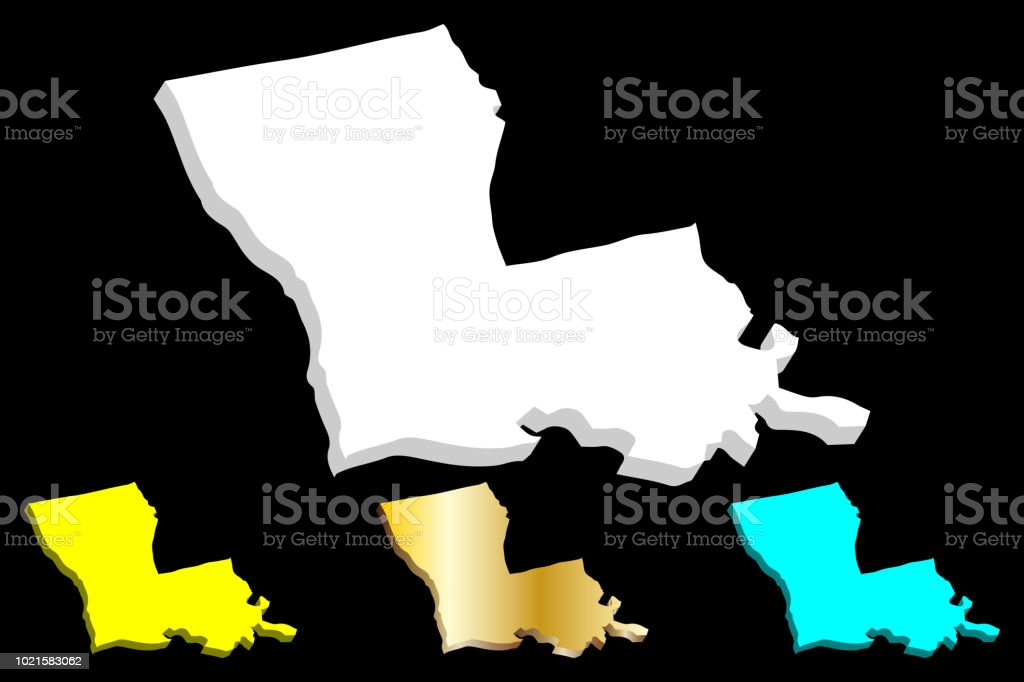 3D map of Louisiana vector art illustration