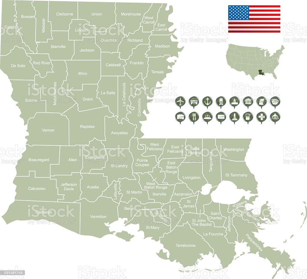 Map of Louisiana vector art illustration