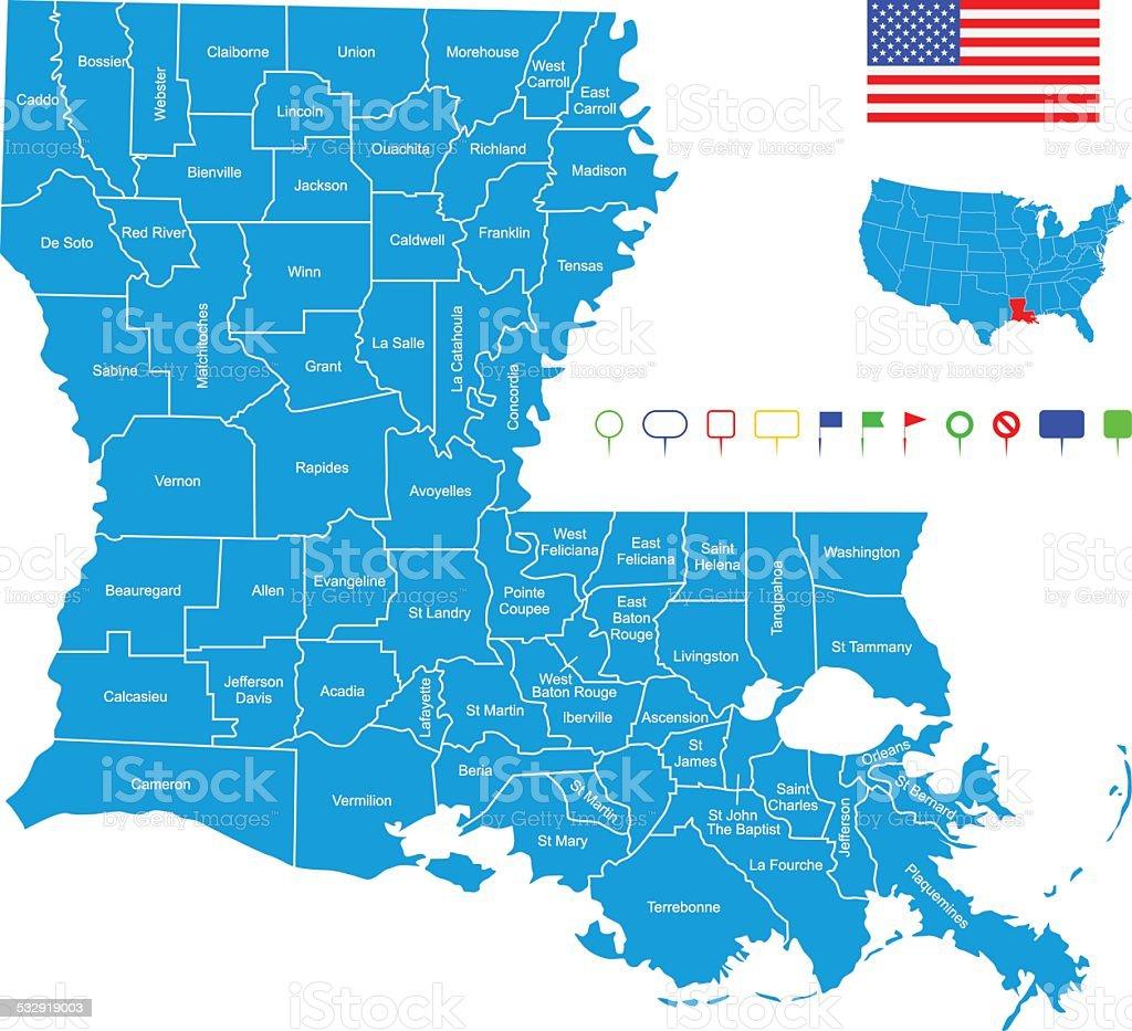 Map of Louisiana vector art illustration
