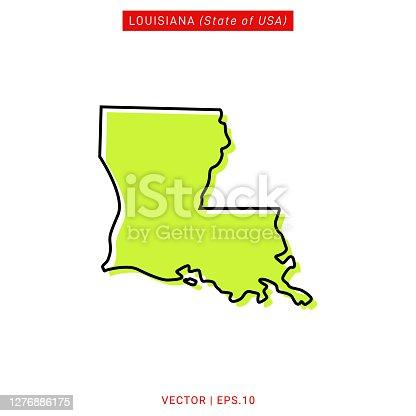 istock Map of Louisiana Vector Stock Illustration Design Template. 1276886175