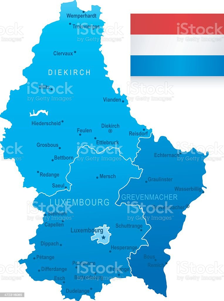 Map Of Luxembourg States Cities And Flag Stock Illustration ...