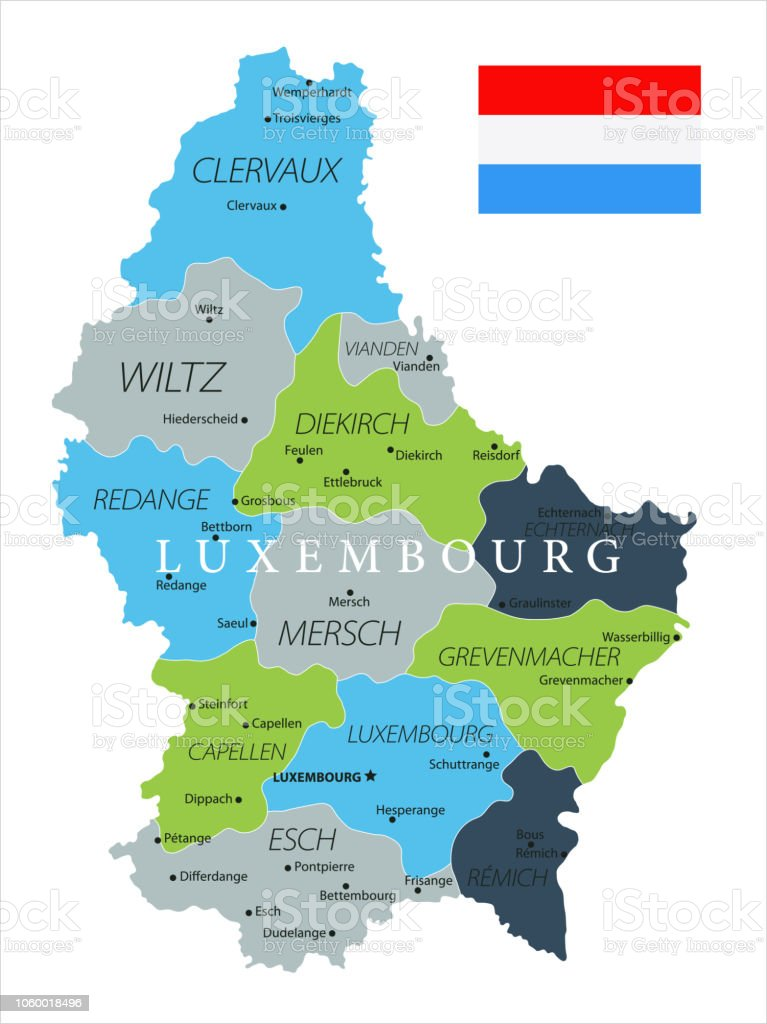 Map Of Luxembourg Vector Stock Illustration - Download Image ...