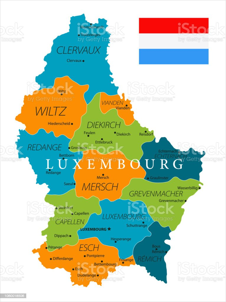 Map Of Luxembourg Vector Stock Vector Art & More Images of Blue ...