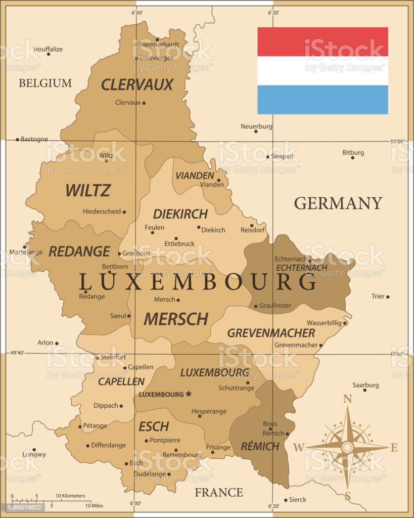 Map Of Luxembourg Vintage Vector Stock Vector Art & More Images of ...