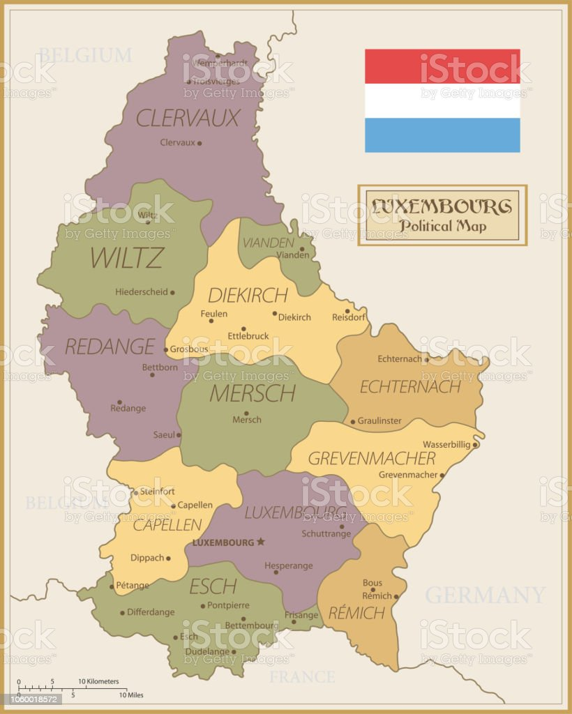 Map Of Germany And Luxembourg.Map Of Luxembourg Vintage Vector Stock Illustration Download Image